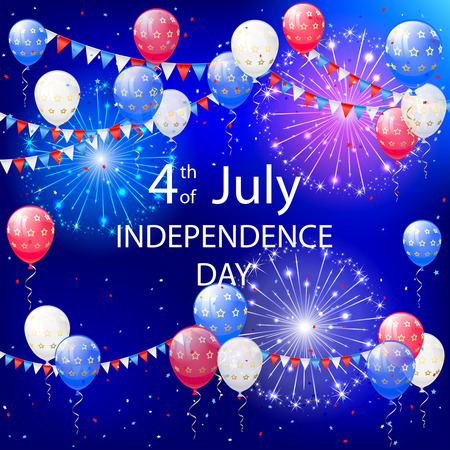 red white and blue: Independence day background with balloons, pennants and fireworks, illustration.