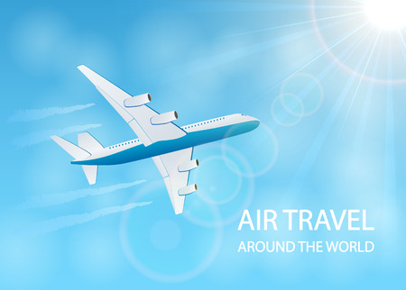 vapor: Air travel background with plane in the blue sky and vapor trail, illustration. Illustration