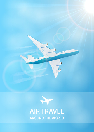 vapor: Flying plane and vapor trail in the blue sky, air travel background, illustration. Illustration