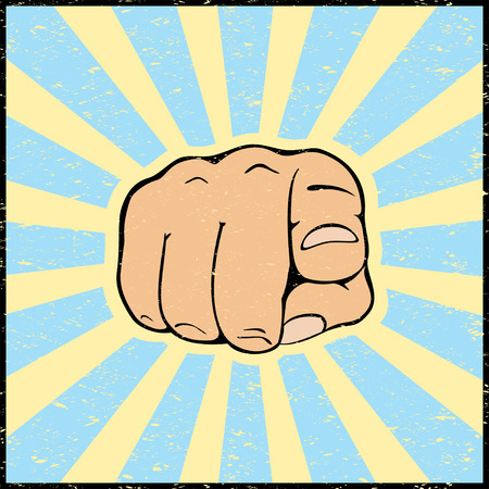 pointing hand: Hand with pointing finger on grunge background, illustration.