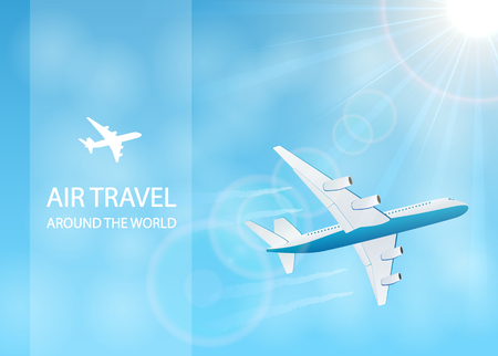 vapor trail: Flying plane and vapor trail in the blue sky, air travel around the world, illustration.