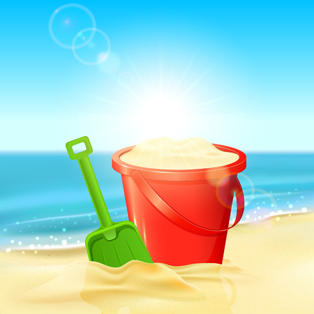 shovels: Red bucket of sand and green shovel on the sandy beach, illustration.