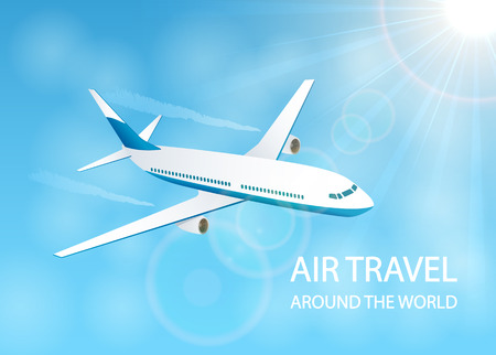 Flying plane in the blue sky, air travel around the world, illustration.