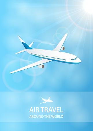 Vliegreizen achtergrond met vliegende vliegtuig in de blauwe hemel, rond de wereld, afbeelding. Vector Illustratie