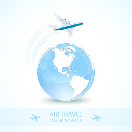 vapor trail: Air travel with white plane and earth globe, around the world, illustration.