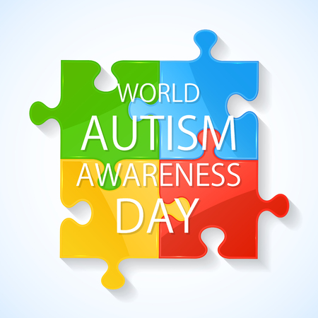 social awareness symbol: Colorful puzzle elements in autism awareness day, illustration.