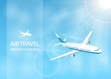 vapor trail: Air travel with white plane in the blue sky, around the world, illustration. Illustration