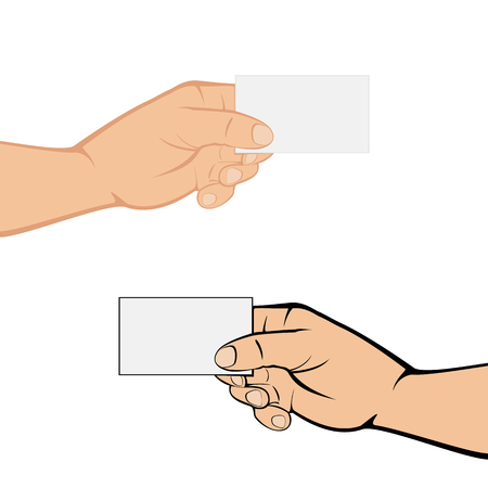 two hands: Two hands with cards isolated on white background, illustration. Illustration