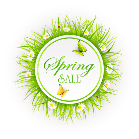 Spring sale on abstract background with round card, grass, ladybugs and butterflies, illustration.