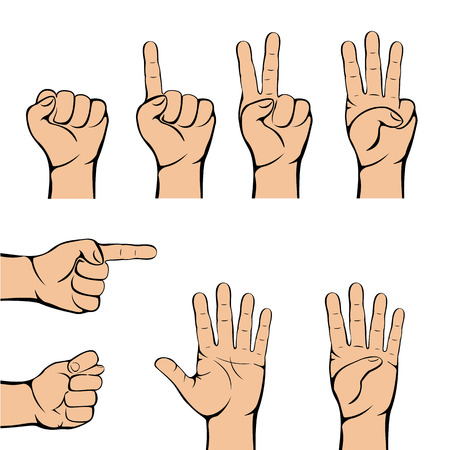 gripping: Set of hand gestures isolated on white background, illustration. Illustration