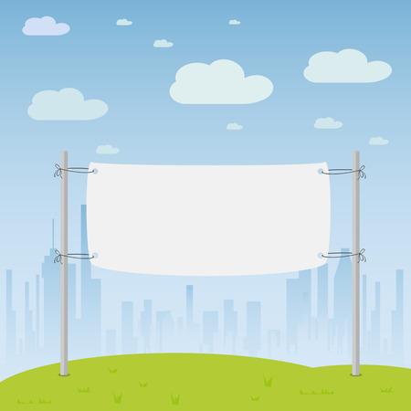 city background: Blank banner hanging on city background, illustration.