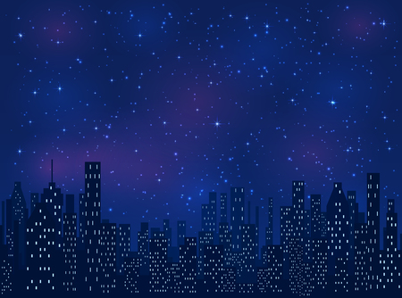 Night in the city, shining stars on blue sky background, illustration. Çizim
