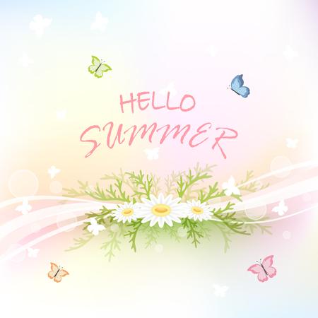 Zusammenfassung Sommer Hintergrund mit Blumen und Schmetterlinge fliegen, Illustration.
