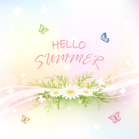 abstract flowers: Abstract summer background with flowers and flying butterflies, illustration. Illustration