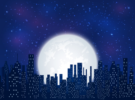Night in the city, shining stars and Moon on blue sky background, illustration. Stock Illustratie