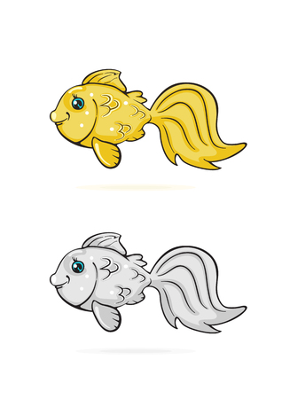 ichthyology: Icons of cartoon Goldfish isolated on white background, illustration.