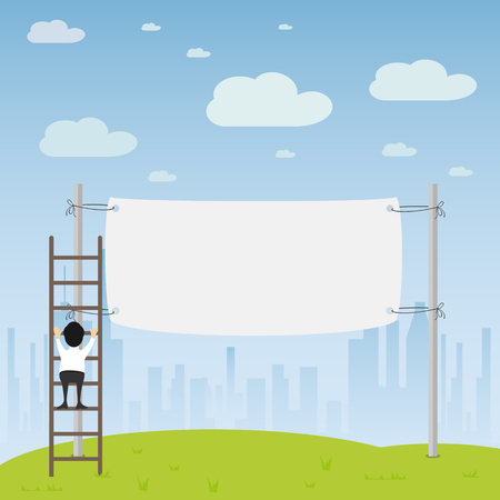 hung: Man hung the banner on city background, illustration.