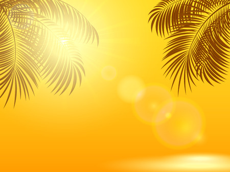 sunbeams: Palm leaves and the Sun on a orange shiny background, illustration.