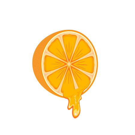 flavour: Juicy orange isolated on white background, illustration.