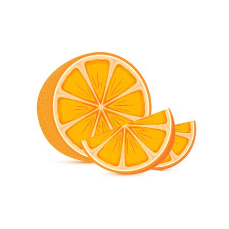 sap: Fresh ripe orange and slices isolated on white background, illustration.