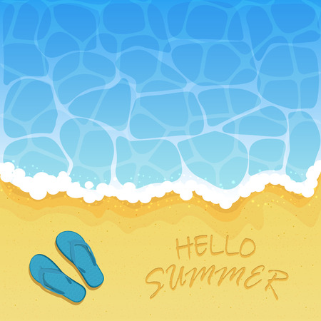 wave hello: Ocean wave on a sandy beach with flip flops and inscription Hello Summer, illustration.