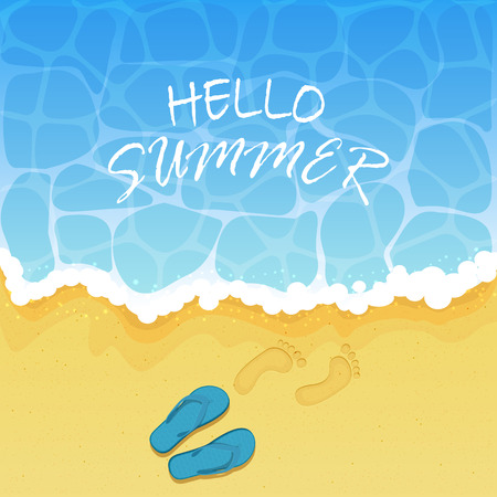 footprints in sand: Lettering Hello Summer on water background, ocean waves on a sandy beach with flip flops and footprints, illustration. Illustration