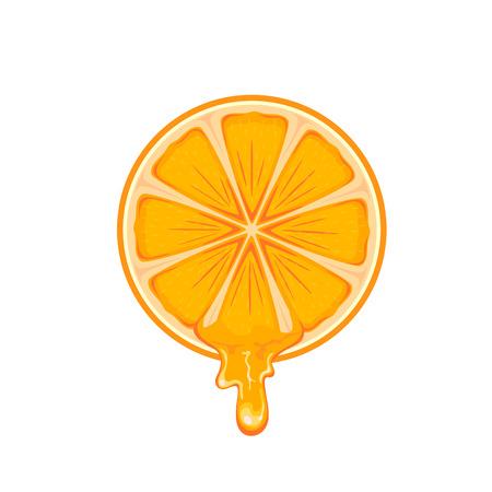 sap: Fresh ripe orange isolated on white background, illustration.