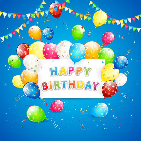 blue card: Happy Birthday blue background with holiday card, pennants, flying colorful balloons, tinsel and confetti, illustration.