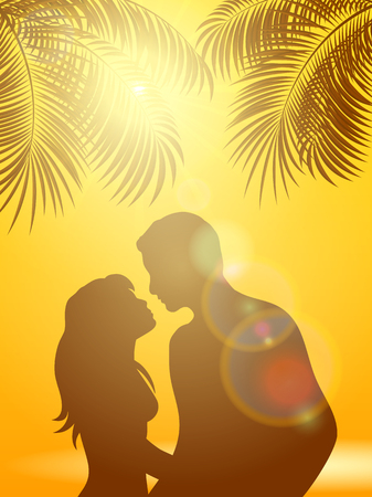 couple beach sunset: Two lovers under palm trees and sun on an orange background, illustration.