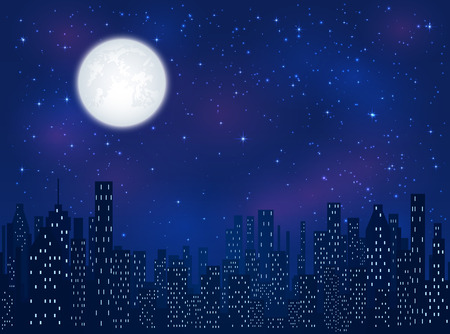 Full moon in the night sky with shining stars over the city, illustration.