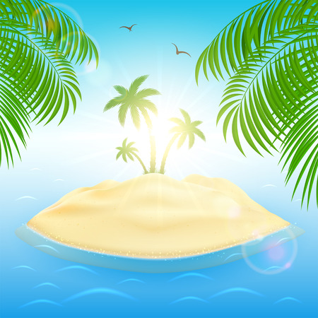 ocean background: Sunny background with palm leaves and trees on sandy island in ocean, illustration. Illustration