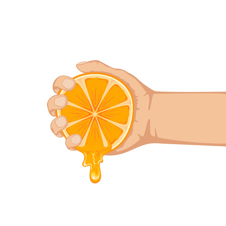 Hand squeezes fresh ripe orange isolated on white background, illustration. Illustration