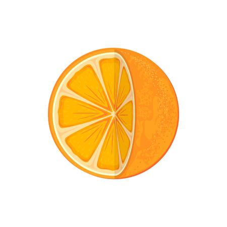 sap: Fresh ripe orange isolated on white background, juicy orange icon, illustration. Illustration