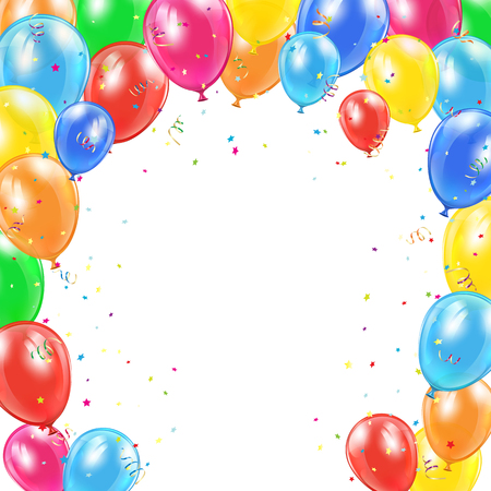 colored balloons: Happy Birthday background with frame from flying colorful balloons, tinsel and confetti, illustration.