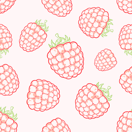 raspberries: Seamless background with red ripe raspberries on white background, illustration.