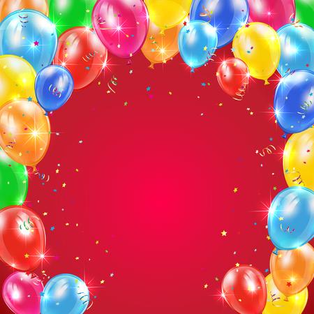 fondo rojo con el marco de volar globos de colores, oropel y confeti, feliz cumpleaños temáticos, ilustración. Ilustración de vector