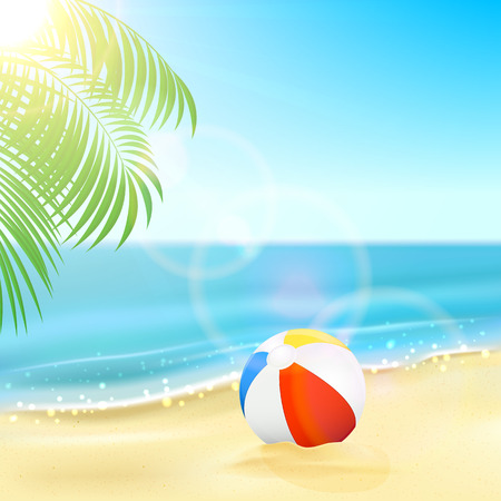 Tropical background with colorful ball on the sandy beach, Sun, sparkling ocean and palm leaves, illustration. Illustration