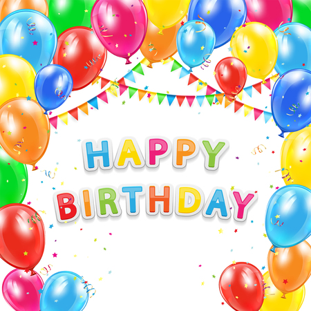 marco cumpleaños: Fondo del cumpleaños, la inscripción feliz cumpleaños con globos de colores que vuelan, oropel y confeti multicolor, ilustración.