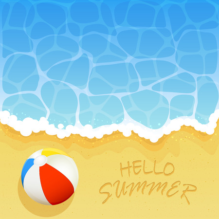 wave hello: Ocean wave on a sandy beach with colored beach ball and inscription Hello Summer, Summer vacation on the beach, illustration.