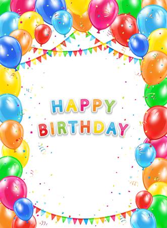 Fondo del cumpleaños, la inscripción feliz cumpleaños con globos de colores que vuelan, banderines multicolores, oropel y confeti, la ilustración.