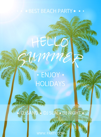 summer beach party: Summer beach party, flyer template, Summer holidays poster with palm trees, lettering Hello Summer and enjoy holidays, illustration. Illustration