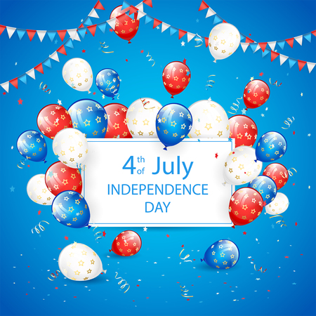 tinsel: Independence day background, USA Independence day theme 4th of july with card, flying colorful balloons, pennants, tinsel and confetti, illustration.