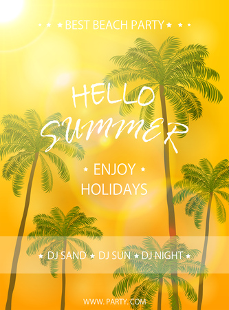 sunny beach: Summer beach party, flyer template, Summer holidays poster with palm trees on orange sunny background, lettering Hello Summer and enjoy holidays, illustration.