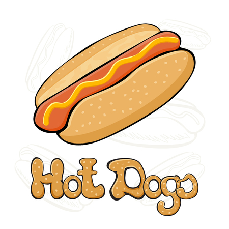 hot dog bun: Hot dog with mustard on white background, fast food with sausage and bun, illustration.