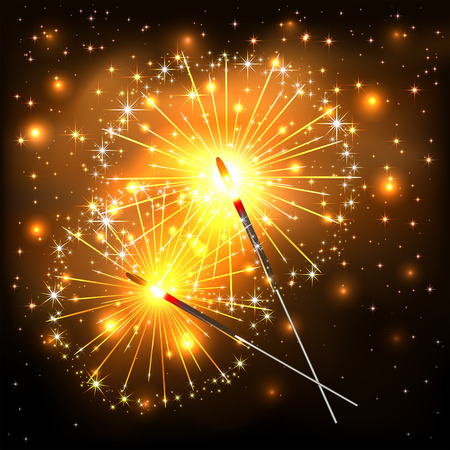 bengal: New Years background with burning sparklers, two glowing sparklers with golden sparks on dark background, sparkling Bengal lights, illustration.
