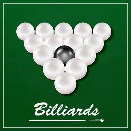 indoor sport: The inscription Billiards and billiard table with balls, set of white billiard balls and one black billiard ball on a green cloth background, illustration.