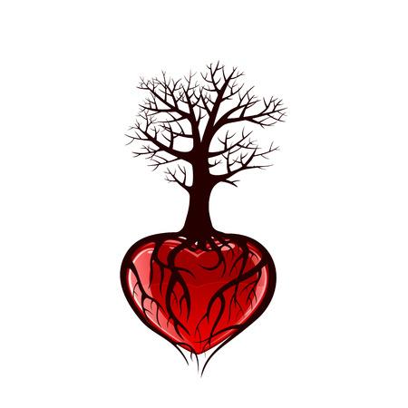 Árbol con el corazón rojo y las raíces en forma de corazón, ilustración Ilustración de vector