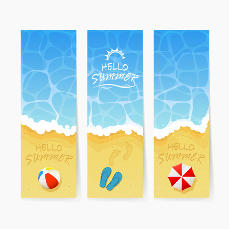 footprints in sand: Set of beach Summer cards, inscription Hello Summer and ocean wave on a sandy beach with colored beach ball, lettering Hello Summer on water background, ocean waves and sandy beach with flip flops and footprints, Summer vacation on the sea beach and beach