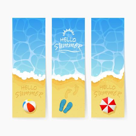beachball: Set of beach Summer cards, inscription Hello Summer and ocean wave on a sandy beach with colored beach ball, lettering Hello Summer on water background, ocean waves and sandy beach with flip flops and footprints, Summer vacation on the sea beach and beach