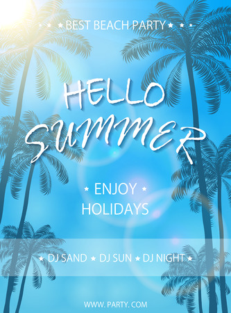 Summer beach party on blue background, flyer template, Summer holidays poster with palm trees, lettering Hello Summer and enjoy holidays, illustration. Illustration